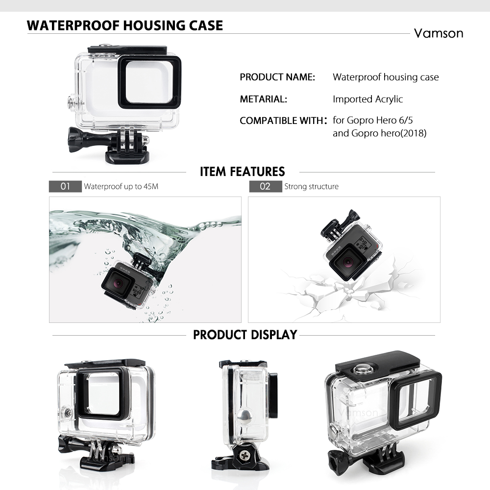 Image 2 - Vamson for Gopro Hero 7 6 5 Accessories Kit Waterproof Housing Case Frame Floaty Bobber Monopod for Go pro Hero 6 5 Camera VS142Sports Camcorder Cases   -