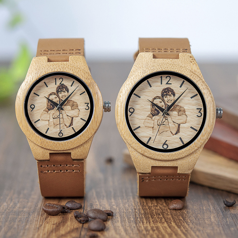 Personalized Picture Printed Wooden Watch with a Gift Box 1