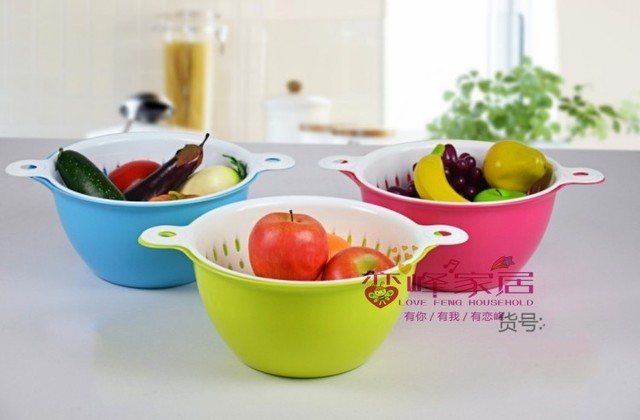 Multifunctional fruit and vegetable basket twinset vegetables basket fruit basket double layer water drop blue drain basket