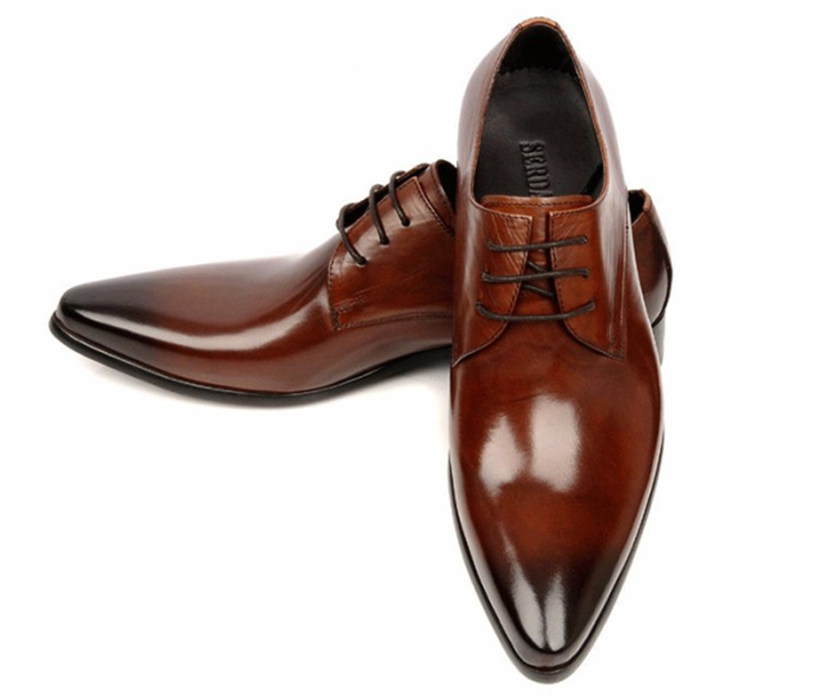 Mens Tan Leather Pointed Toe Shoes