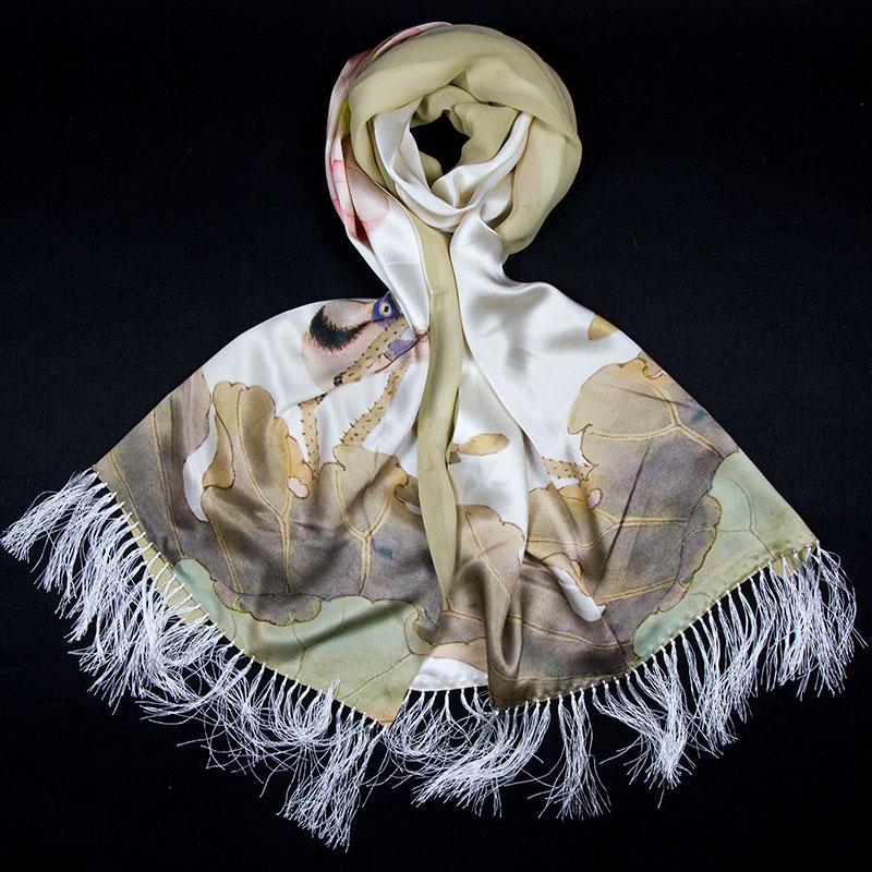 100% Silk Scarf Women Scarf Water Lily Pashmina Long Silk Shawl 2018 Designer Scarf Top Print Female Shawl Hot Luxury Women Gift