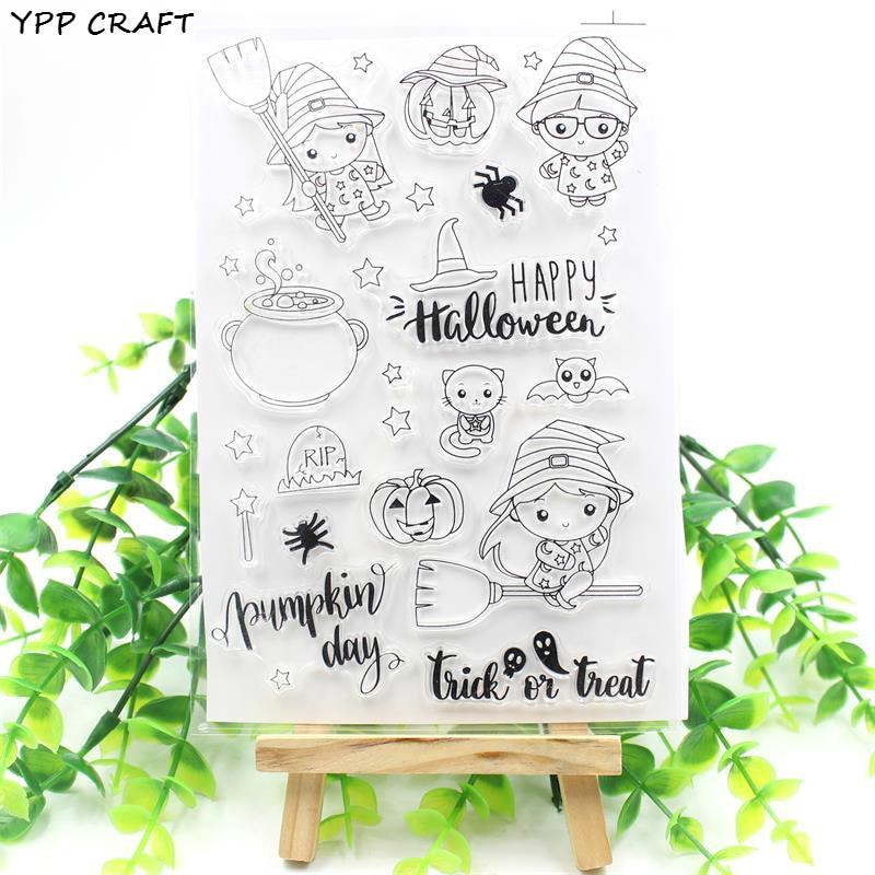 Ypp ofício feliz dia das bruxas transparente claro silicone selos para diy scrapbooking/cartão que faz/crianças diversão decoração suprimentos 239