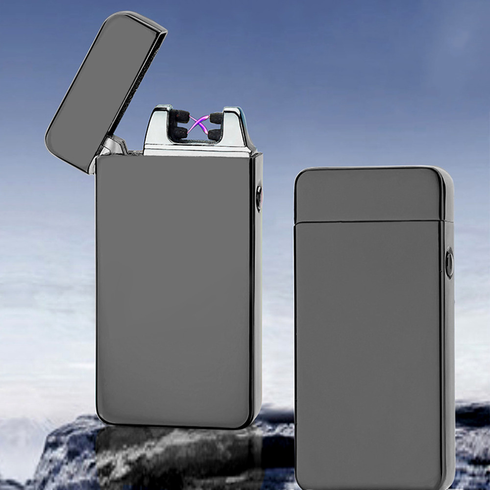 USB Electric Dual Arc Metal Flameless Torch Rechargeable Windproof Lighter No Gas or Fuel Required Cigarette Lighter