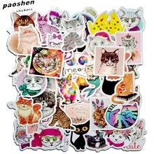 50 шт. милые наклейки с котом для записей, карандаши, сумки для карандашей, граффити для ванной комнаты, наклейки для гитары, скейтборда, велосипеда