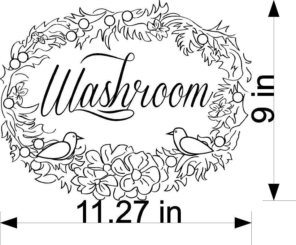Vinyl Sticker Washroom Bathroom Decorative Wall Decal Cute Funny Room Guests Bath