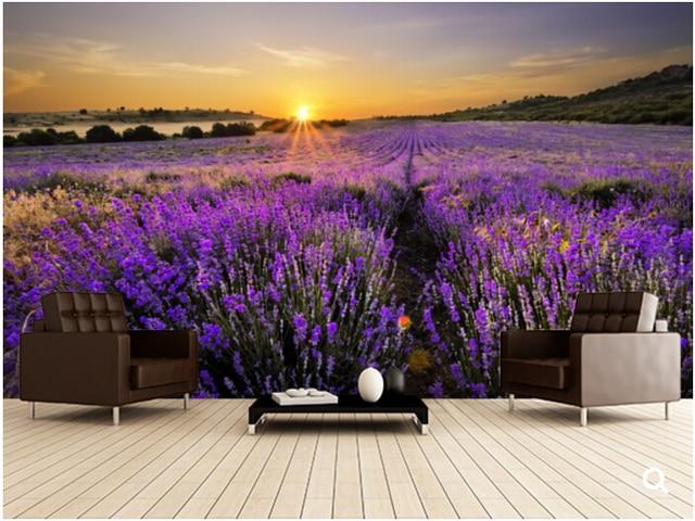 benutzerdefinierte natur wandmalereien sonnenuntergang ber lavendel bereich 3d fototapete f r. Black Bedroom Furniture Sets. Home Design Ideas