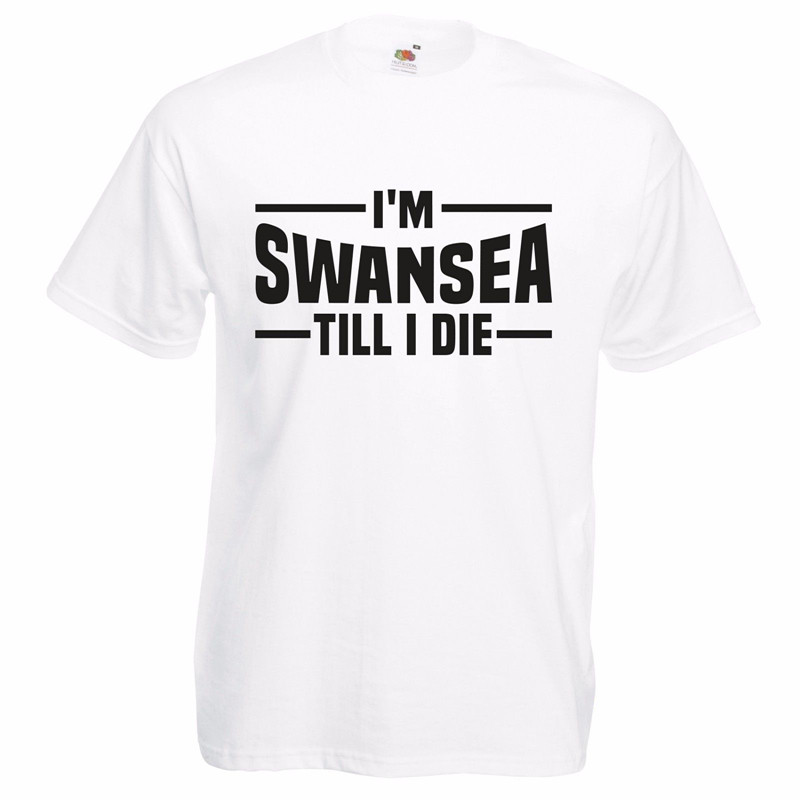 Men'S T Shirts Summer Hipster I'M Swansea Till I Die T Shirt – White Footballer Welsh Club Birthday Gift Dad Son