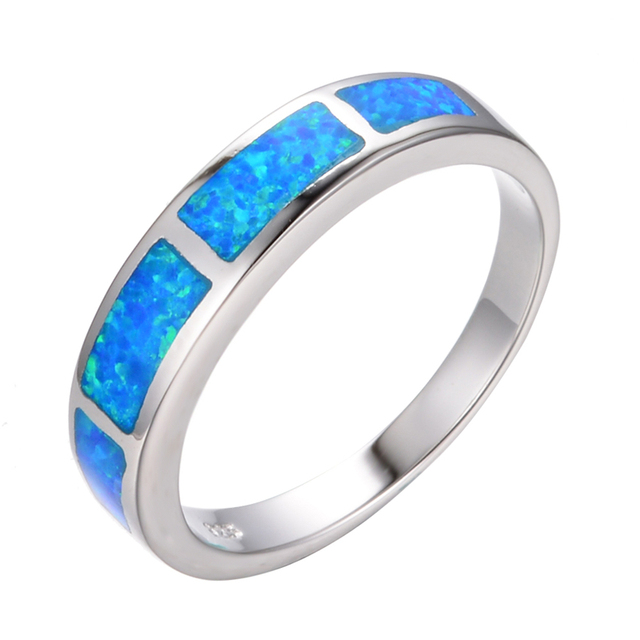 Fashion 925 Sterling Silver Band Jewelry Size 6-9 Ocean Blue Fire Opal Wedding Ring For Women Engagement Rings Anel Aneis RS0124