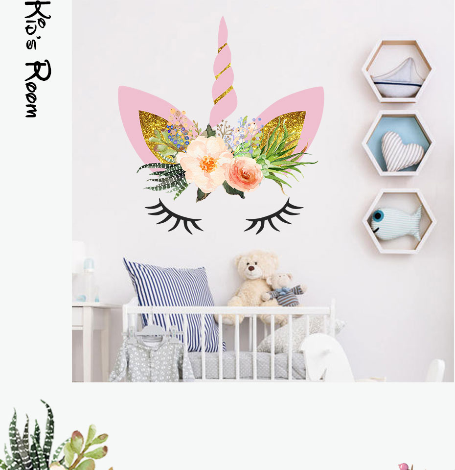 Magic Cartoon Unicorn Color Wall Stickers For Girls Bedroom Colorful Flowers Wall Decals Diy Poster Wallpaper Home Decor
