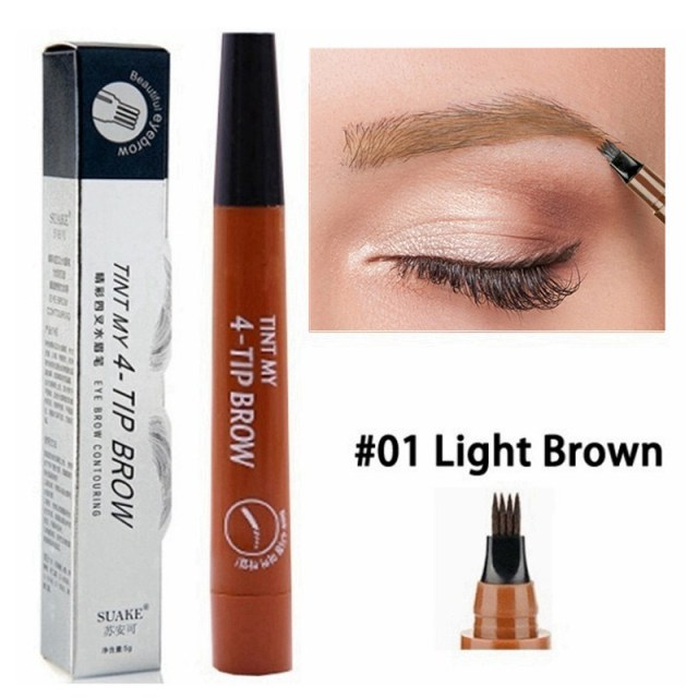 5 Colors Eyebrow Pen Waterproof 4 Fork Tip Eyebrow Tattoo Pencil Cosmetic Long Lasting Natural Dark Brown Liquid Eye Brow Pencil 1