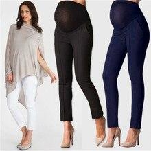 Эластичные капри для защиты живота для беременных женщин с высокой талией, повседневные брюки для работы и офиса, узкие брюки-карандаш