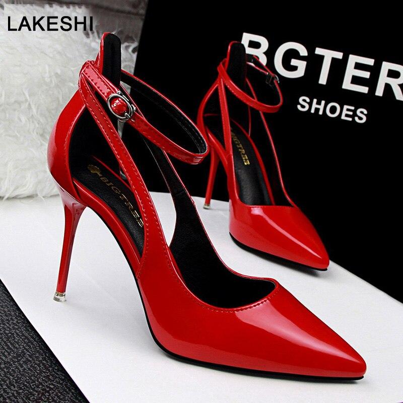 1bb520726e Bigtree Shoes Women Pumps Patent Leather Women Shoes High Heels Women  Wedding Shoes Kitten Heels Ankle Strap Female Stiletto