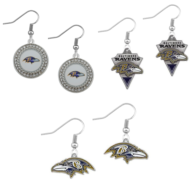 5pairs Enamel Baltimore Ravens Alloy Sport Team Drop Earrings Jewelry For Fans