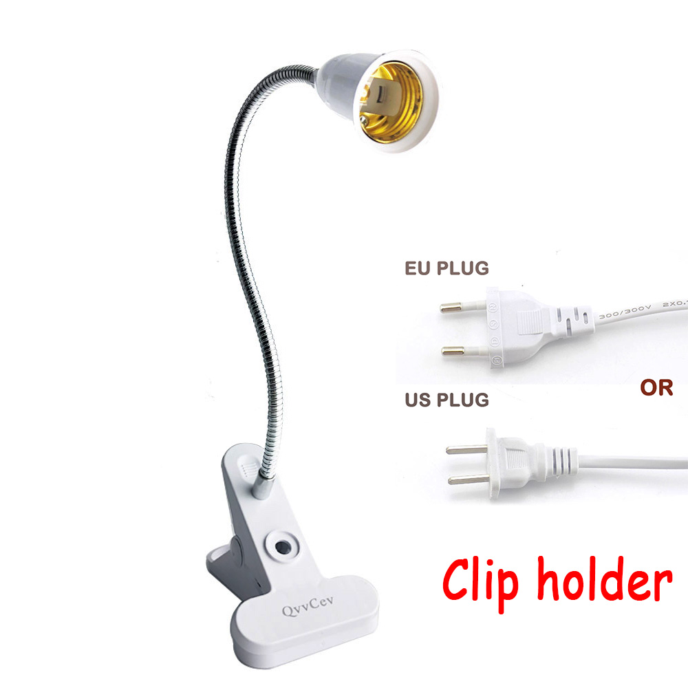 360 Degrees Adjustable Flexible Goose Neck  E27 Lamps Base Desk Holder Clip With On Off Switch For Led Grow Lights Bulbs Lamp