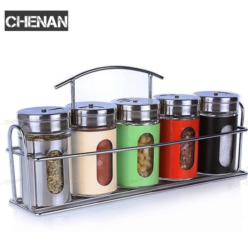 5pcs/ a set Castor Stainless Steel Condiment Set Seasoning Bottles Set Salt Pepper Shakers Spice Cruet Sets Sauce Cooking Tools
