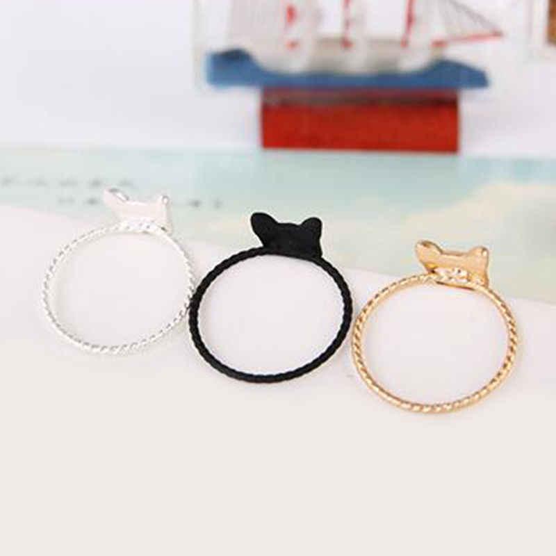 Cute Golden/Black/Silver Fashion Chic  Rhinestone Pussy 1pc Crystal Gift Novelty Animal Women Rings Cat