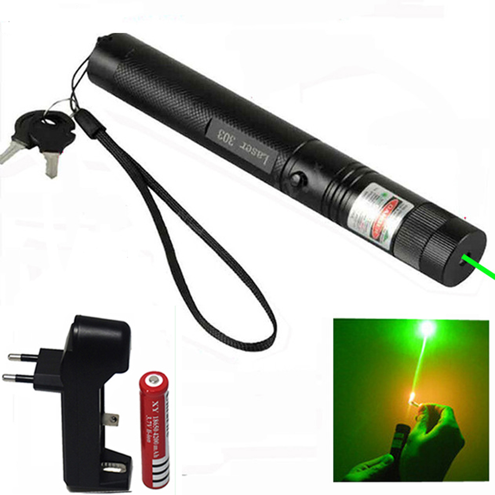 High Power 5mW Green Laser Pointer 532nm 303 Laser pen Adjustable Burning Match With Rechargeable 18650 Battery