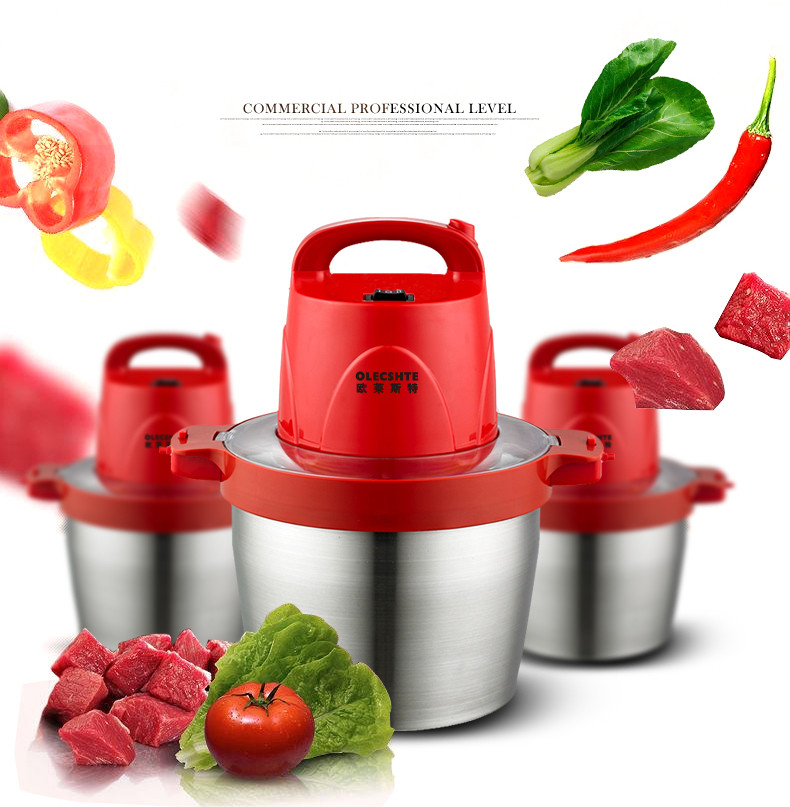 Garlic Pepper Grinder Household Electric Meat Grinder Large Capacity 5L Stainless Steel Crushed Ginger Slice Cuisine цена и фото
