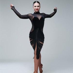 Image 4 - Sexy latin kleider für tanzen frauen latin dance kleid quaste dance kostüme für pole dance kleidung body party kleid jazz