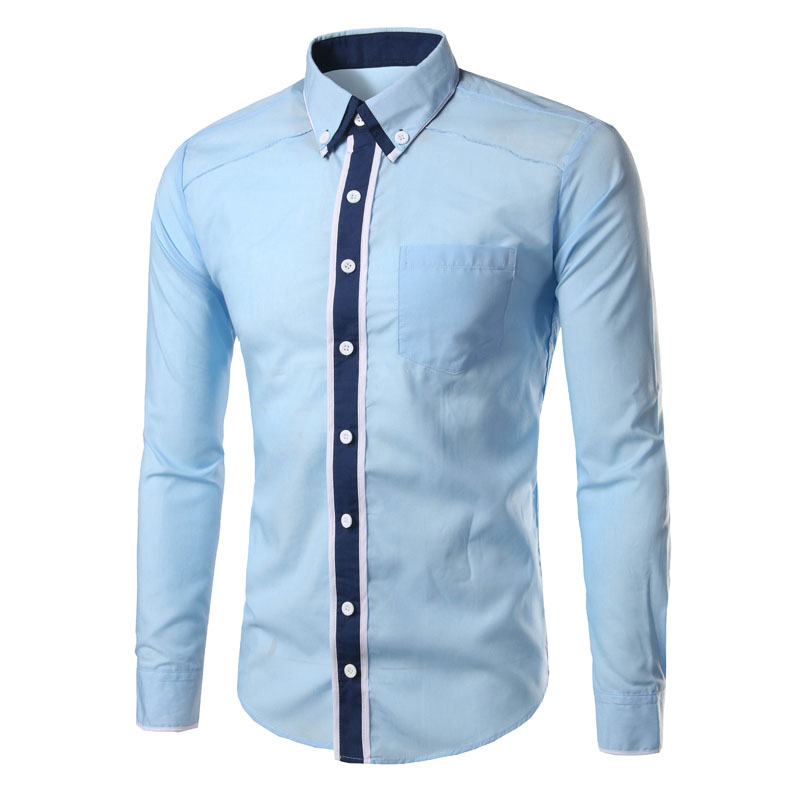 9318cad0d7 2019 Brand 2018 Fashion Male Shirt Long Sleeves Tops Double Collar ...