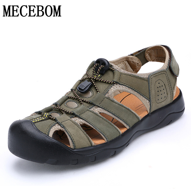 Summer Brand Genuine leather Men Sandals hollow out breathable beach sandals for male brown zapatos hombre size 38-44 9518m цена