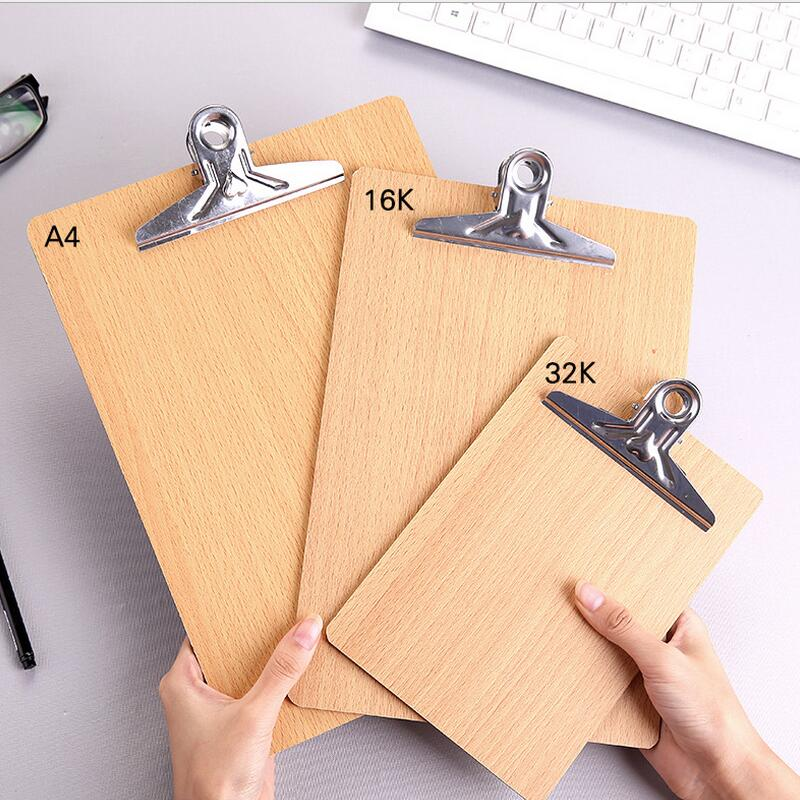 A4/16k/32k Size Folder Pad Wooden Clipboard File Folder Stationary Board Hard Board Writing Plate Clip Report Office Supplies