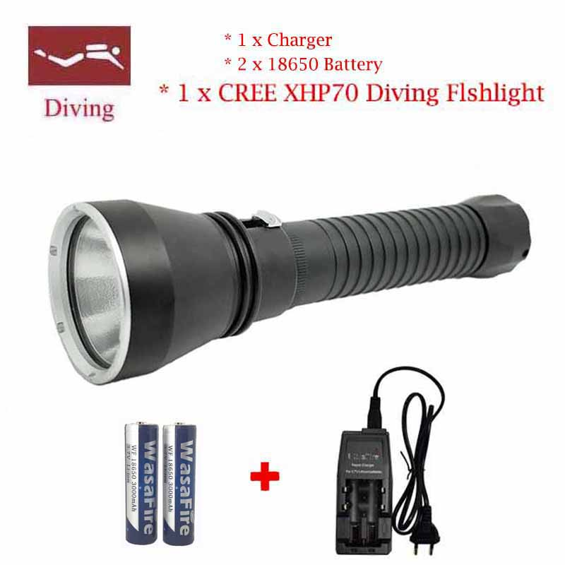 2016 New XHP70 Flashlight LED Professional Diving 100M Aluminum light cup Power Promise dimming Outdoor light Camping Torch only a promise