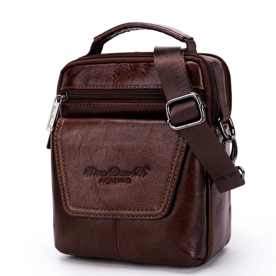 Brand Genuine Leather Small Casual Travel Bag Mens Handbag Male Cross Body Shoulder Bags Cowhide Messenger Bag Men Handle Pack