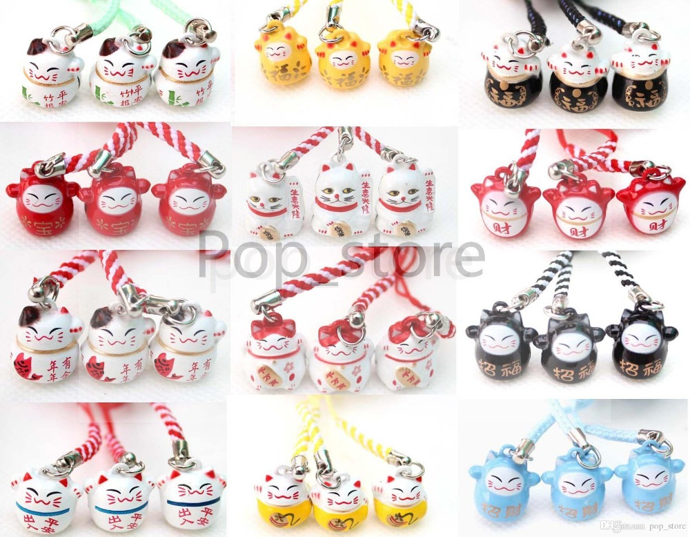 Factory direct selling 100 pcs Various Color Cute Maneki Neko Lucky Cat Bell Mobile Cell Phone