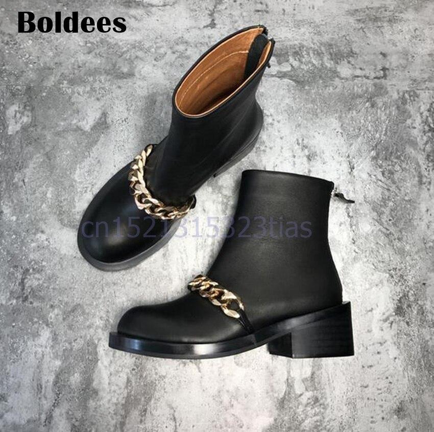 Женские ботинки martin с цепочками, с круглым носком, серебристые, золотые, с металлической цепочкой, черные кожаные полусапожки, с молнией сза