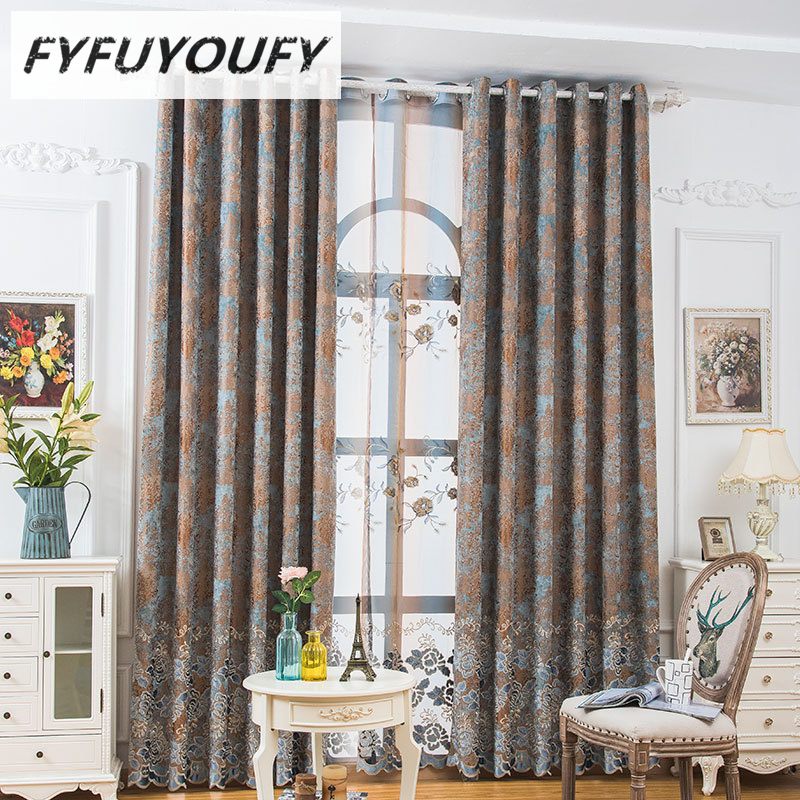 2 Color Europe Embroidered Window Curtains For Living Room Draps Luxury Curtain Bedroom Blinds Can Customize
