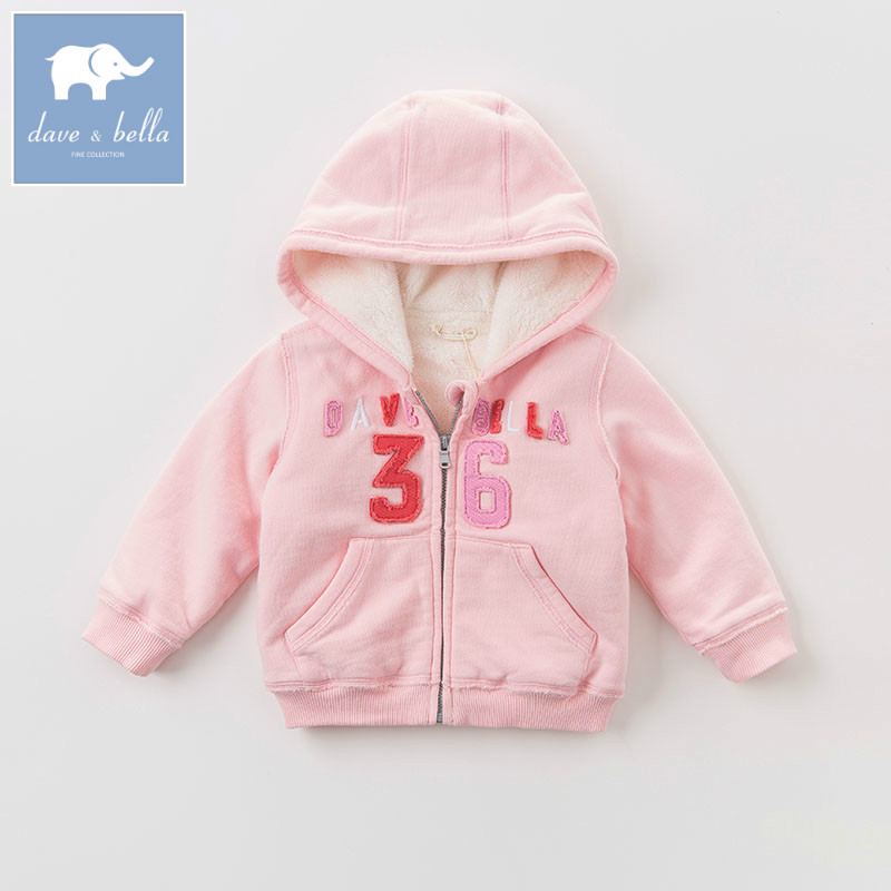 DB6193 dave bella autumn winter infant baby girls fashion pink jacket children lovely hooded coat  kids high quality outerwear