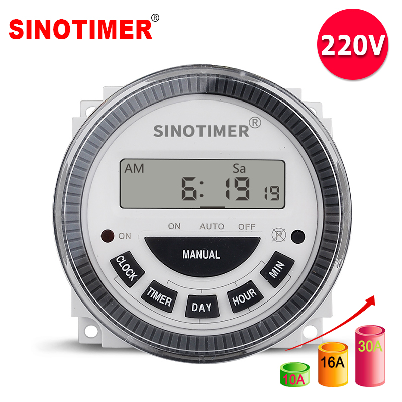230Vac 7 Days Weekly Programmable Digital Timer Lighting Switch Output 220V Voltage Inside Battery With Dustproof Cover