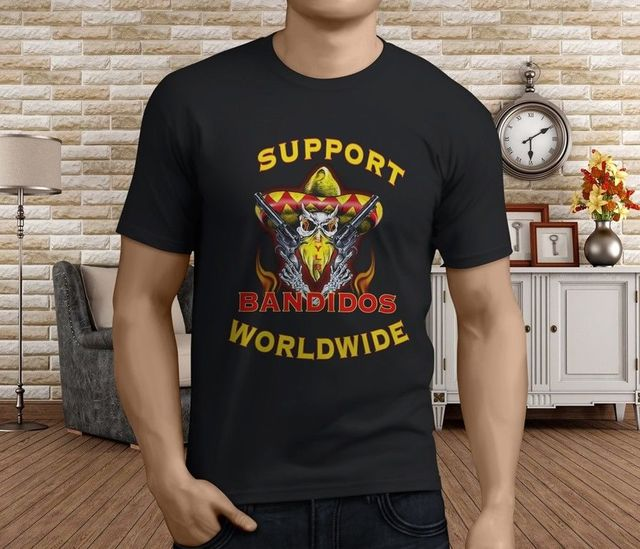 7a0634d0 Custom T Shirt Printing Crew Neck Short-Sleeve Top Support Your Local  Bandidos Bandidos Mc T Shirt For Men