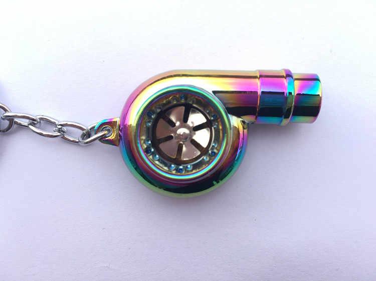 Metal a Corrente Chave do carro de Som Mancal Spinning Turbo chaveiro Auto Parte Modelo carregador Turbo Turbina Anel Chave Turbo anel chave