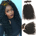 8A Deep wave tight curly Virgin Brazilian hair bundles 3pcs/lot VIP beauty Unprocessed mink Brazilian kinky curly virgin hair