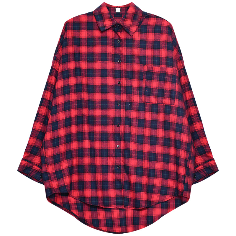 6ce04967 Mazefeng 2018 New Spring Women Casual Plaid Long Shirts Women Shirts Loose Style  Shirts Preppy Style Shirts Women Tops | Everyday Essentials