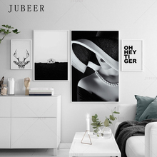 Black and White poster Beautiful girl canvas painting deer wall picture home decoration posters pictures for living room