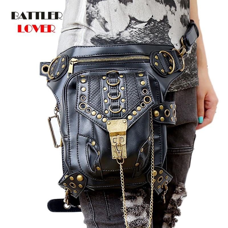 Vintage Steampunk Fanny Bags Steam Punk Retro Rock Gothic bag Goth Shoulder Waist Bags Packs Victorian Style Women Men leg bag