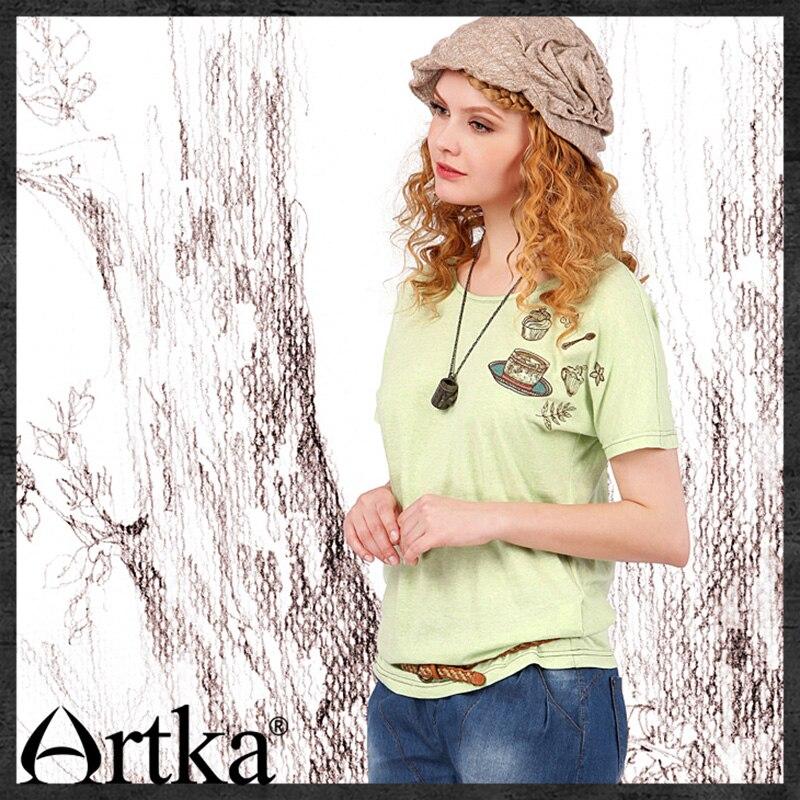 ARTKA été nouveau femmes T-shirt lâche motif broderie T-shirt à manches courtes col rond vert T-shirt pour les femmes TA10257X