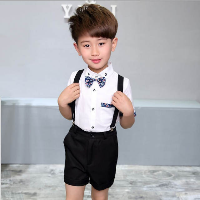 3cc4514ee161c US $13.51 30% OFF|Kids sets for boys Birthday Dress Uniform 3Pcs Bow Tie+ T  Shirt + Overalls Gentleman Baby Boys Suit Children Costume Clothes F40-in  ...