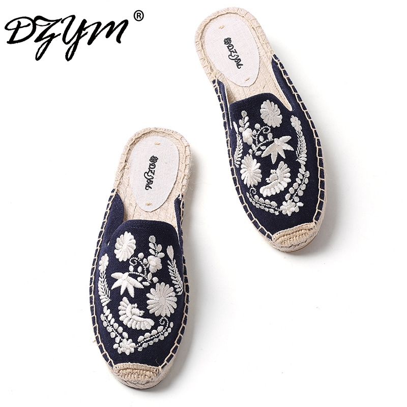DZYM 2018 Summer Canvas Espadrilles Mules Straw Woven Women Fishermen Shoes Cool Slides Hemp Flax Embroidered Zapatas Mujer