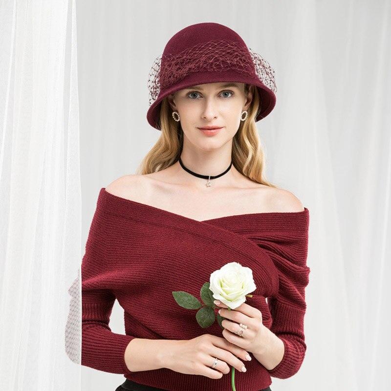 ... FS 100% Wool Cloche Hat Black Fedora Women Wide Brim Elegant Wine Red  Veil Felt ... 891399320adf