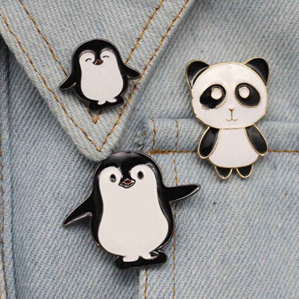 High Quality Cartoon Cute Enamel Pin Penguin Panda Animal Pins Anime Icons  Women's Brooches Badge Jacket Hat Jewelry Brooches