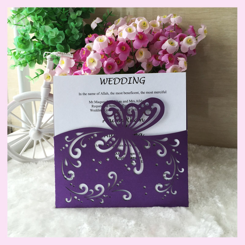pocket butterfly wedding invitations for happy winter White simple ...