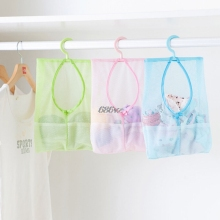 1 pc Bathroom Hanging Bag Clothespin Mesh Hooks Hanging Storage Bag 3 colors Mesh Bag Shower Bath Hanging Organizers(China)