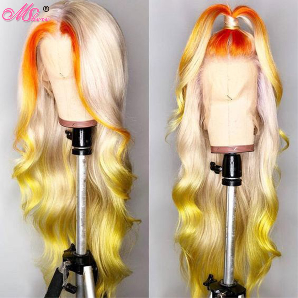 mshere 13x4 Glueless 613 Blonde Lace Front Human Hair Wigs Brazilian Body Wave Lace Front Wig Pre Plucked Honey Blonde Remy Wigs image
