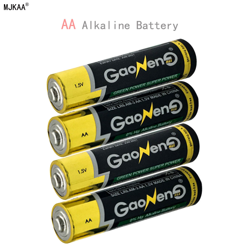 GQYM 10pcs/Lot AA LR6 ZnMn Alkaline Dry battery 1500MAH 1.5V AA 2A alkaline battery cell, Zn-Mn batteries,For toys camear ...