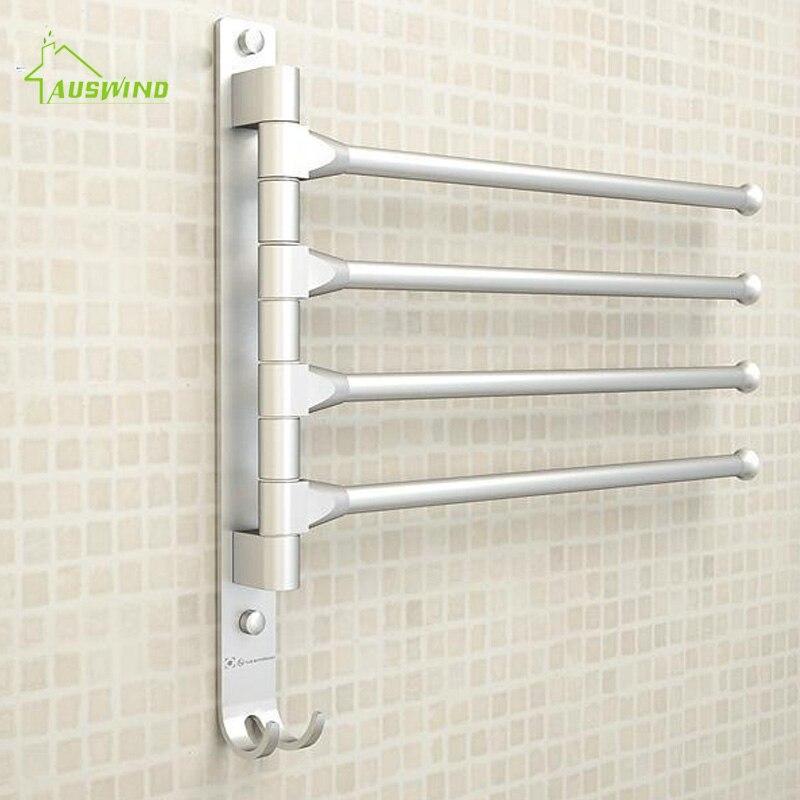 AUSWIND Towel Rack Movable Towel Bars 4/3/2 Arms Space Aluminium Towel Rack Toilet Towel Hanging with Hooks Bathroom Accessories