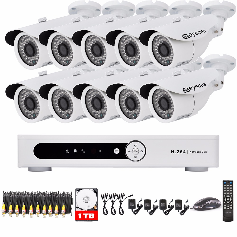 Eyedea 16CH DVR Voideo Recorder 1080P 5500TVL Outdoor LED Night Vision Business CCTV Security Camera Surveillance System 1TB HDD  16ch video camera recorder dvr with 16pcs outdoor waterproof ir day night vision surveillance camera 16ch security sytem dvr kit